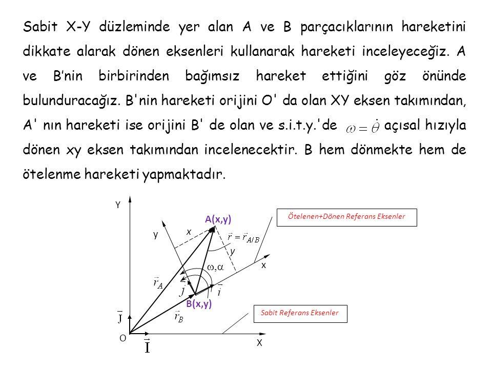 Sabit X-Y düzleminde yer alan A ve B parçacıklarının hareketini dikkate alarak dönen eksenleri kullanarak hareketi inceleyeceğiz. A ve B'nin birbirinden bağımsız hareket ettiğini göz önünde bulunduracağız. B nin hareketi orijini O da olan XY eksen takımından, A nın hareketi ise orijini B de olan ve s.i.t.y. de açısal hızıyla dönen xy eksen takımından incelenecektir. B hem dönmekte hem de ötelenme hareketi yapmaktadır.
