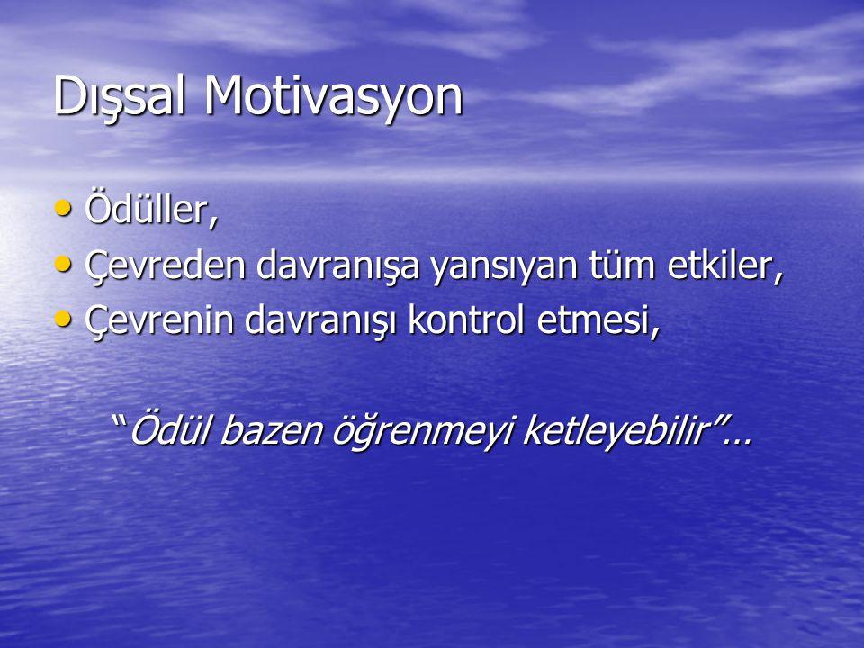Dışsal Motivasyon Ödüller, Çevreden davranışa yansıyan tüm etkiler,