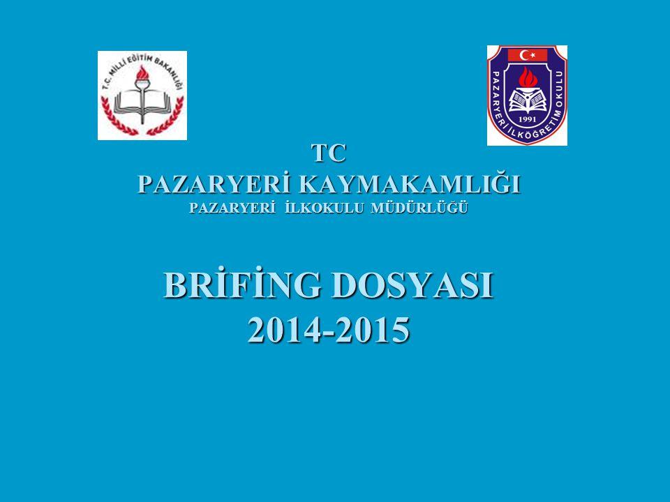 TC PAZARYERİ KAYMAKAMLIĞI PAZARYERİ İLKOKULU MÜDÜRLÜĞÜ BRİFİNG DOSYASI 2014-2015