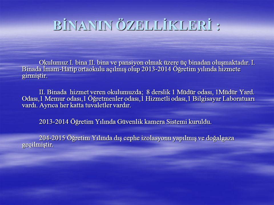 BİNANIN ÖZELLİKLERİ :
