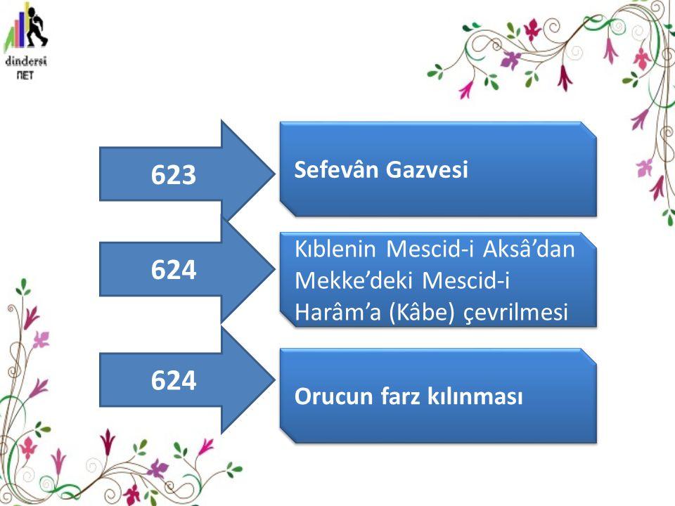 623 Sefevân Gazvesi. 624. Kıblenin Mescid-i Aksâ'dan Mekke'deki Mescid-i Harâm'a (Kâbe) çevrilmesi.