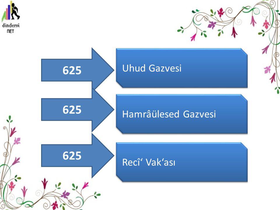625 Uhud Gazvesi 625 Hamrâülesed Gazvesi 625 Recî' Vak'ası