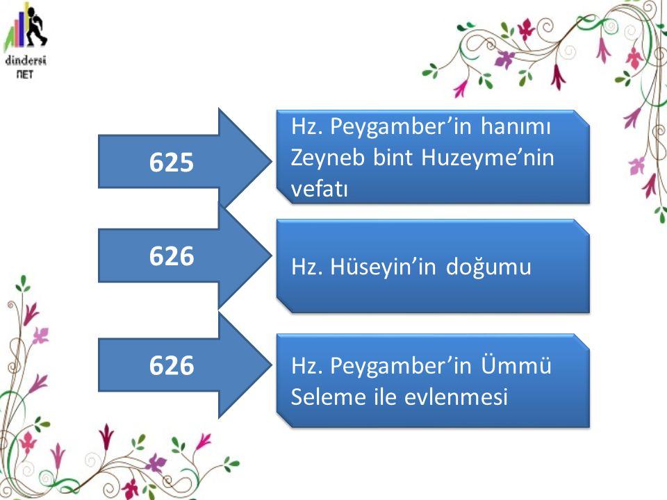 625 626 626 Hz. Peygamber'in hanımı Zeyneb bint Huzeyme'nin vefatı