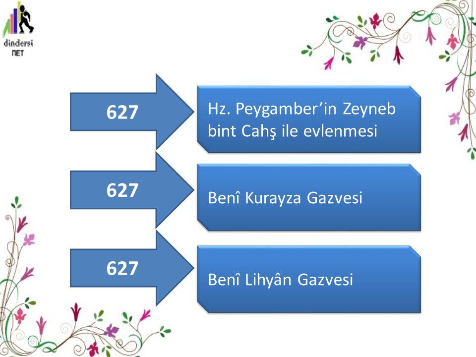 627 627 627 Hz. Peygamber'in Zeyneb bint Cahş ile evlenmesi