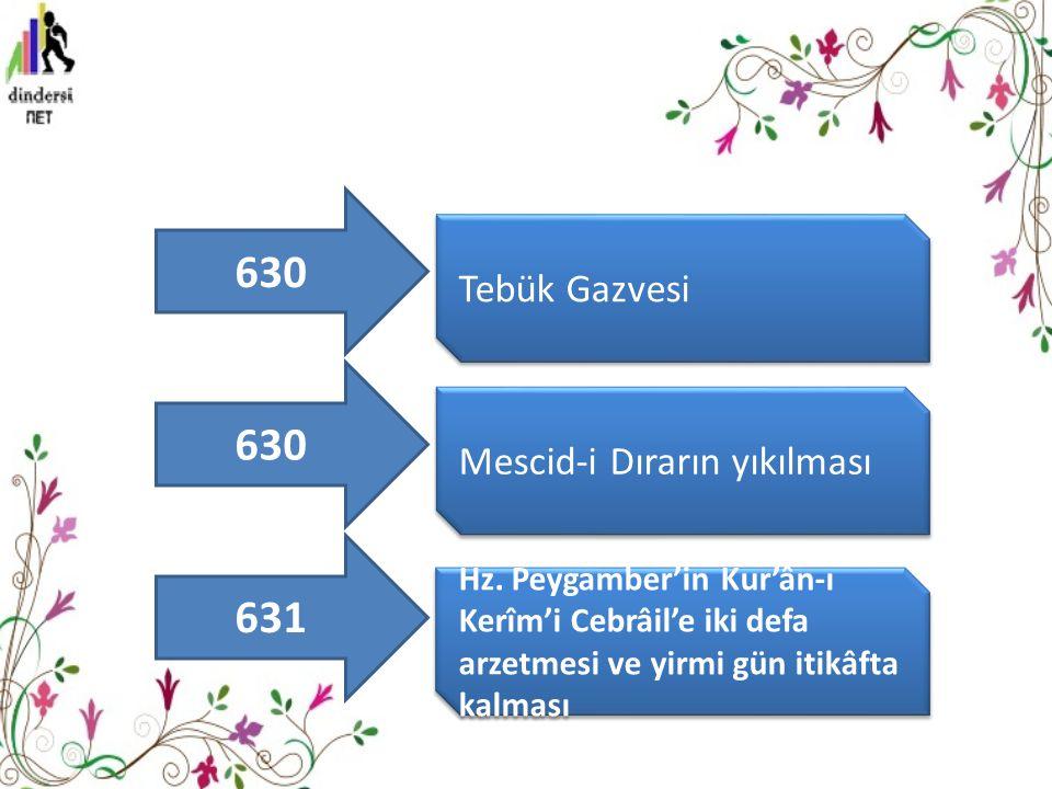 630 630 631 Tebük Gazvesi Mescid-i Dırarın yıkılması
