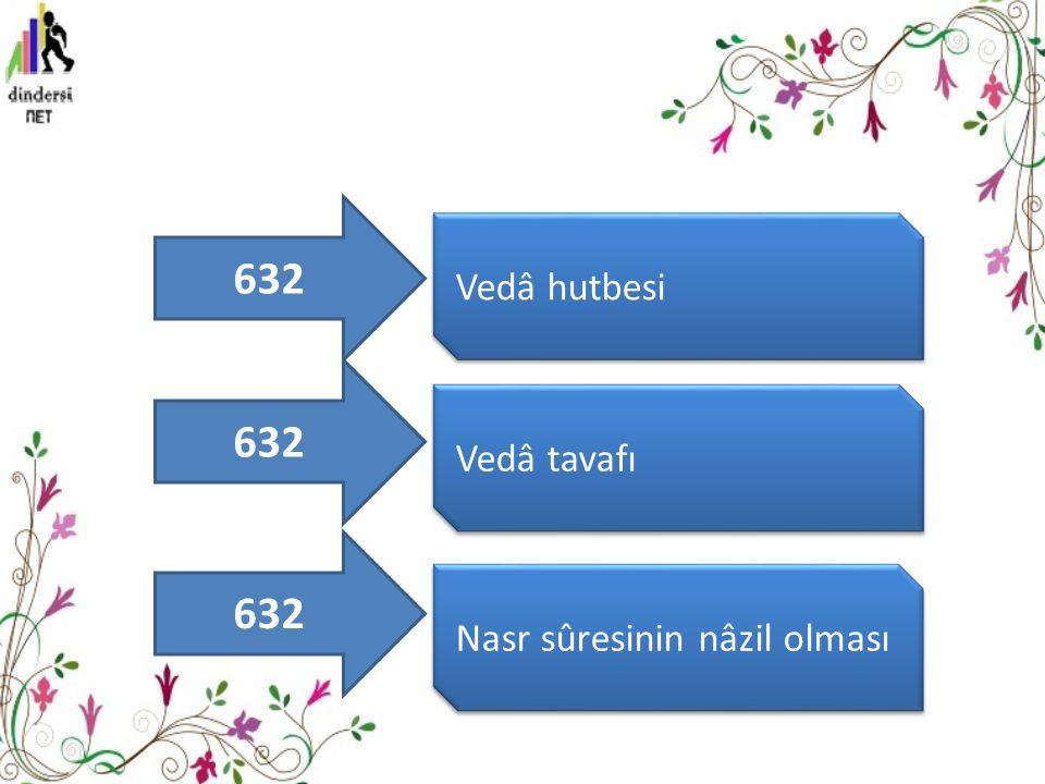 632 Vedâ hutbesi 632 Vedâ tavafı 632 Nasr sûresinin nâzil olması