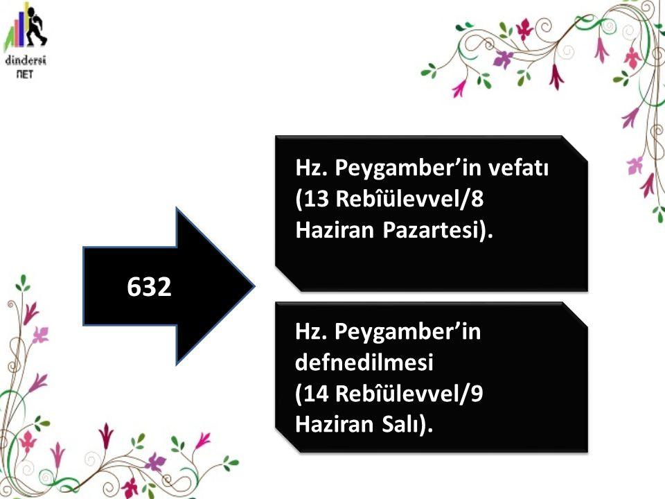 632 Hz. Peygamber'in vefatı (13 Rebîülevvel/8 Haziran Pazartesi).