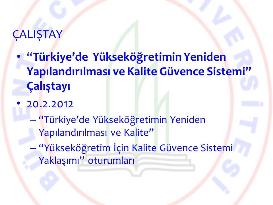 ÇALIŞTAY Türkiye'de Yükseköğretimin Yeniden Yapılandırılması ve Kalite Güvence Sistemi Çalıştayı.
