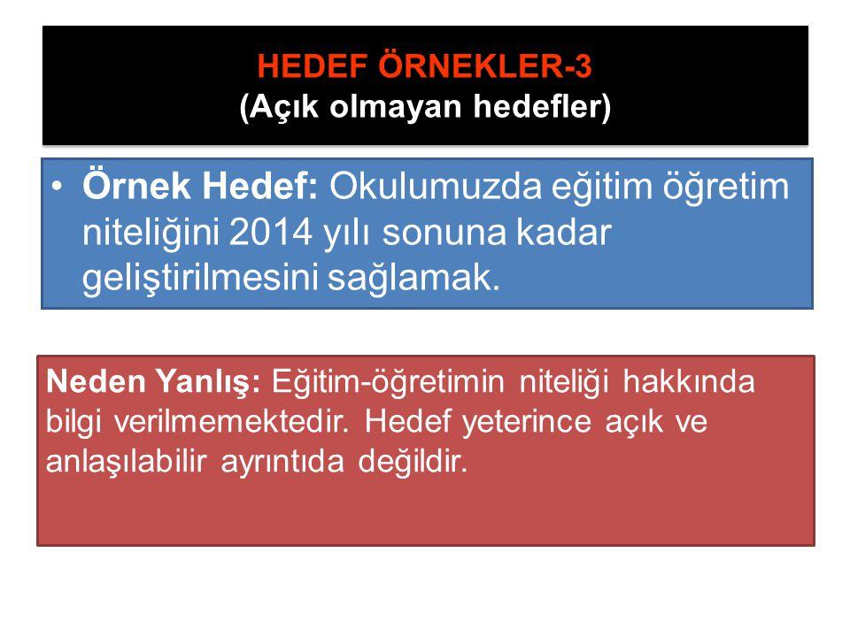 HEDEF ÖRNEKLER-3 (Açık olmayan hedefler)