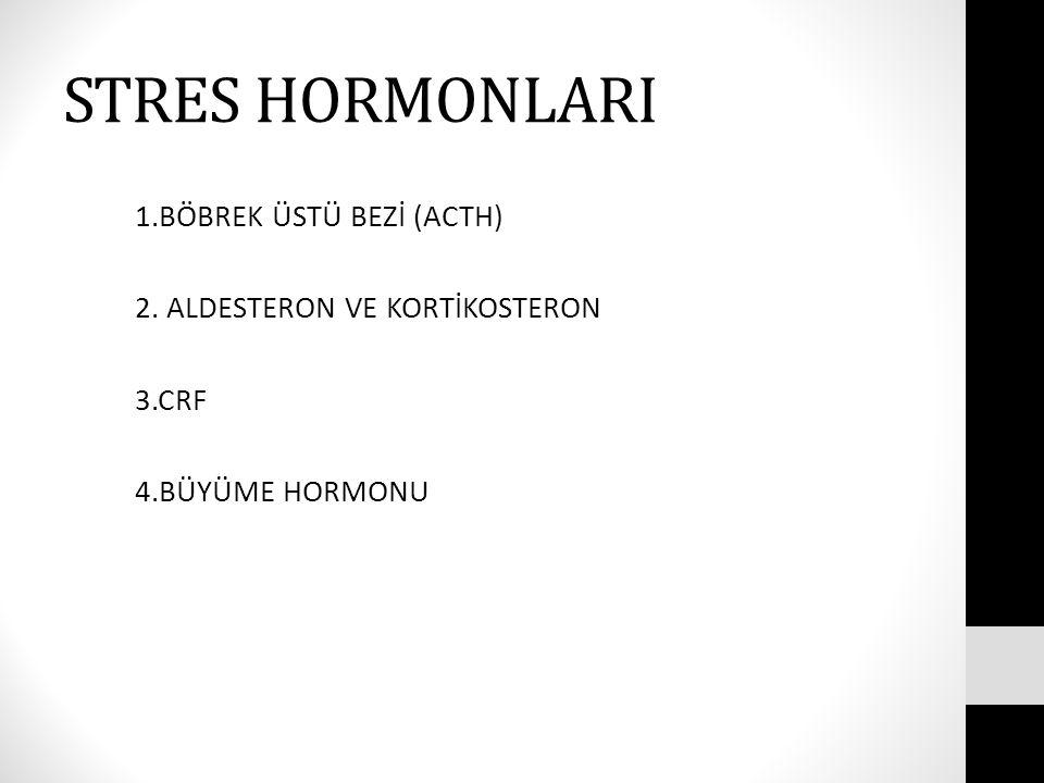 STRES HORMONLARI 1.BÖBREK ÜSTÜ BEZİ (ACTH) 2. ALDESTERON VE KORTİKOSTERON 3.CRF 4.BÜYÜME HORMONU