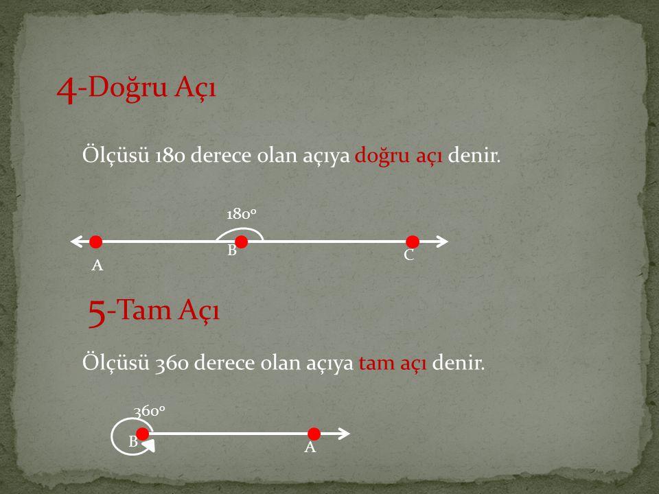 4-Doğru Açı 5-Tam Açı Ölçüsü 180 derece olan açıya doğru açı denir.