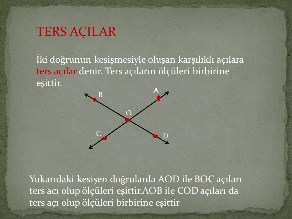 TERS AÇILAR İki doğrunun kesişmesiyle oluşan karşılıklı açılara ters açılar denir. Ters açıların ölçüleri birbirine eşittir.