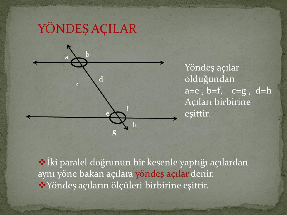 YÖNDEŞ AÇILAR Yöndeş açılar olduğundan a=e , b=f, c=g , d=h