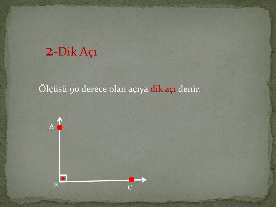 2-Dik Açı Ölçüsü 90 derece olan açıya dik açı denir. A B C