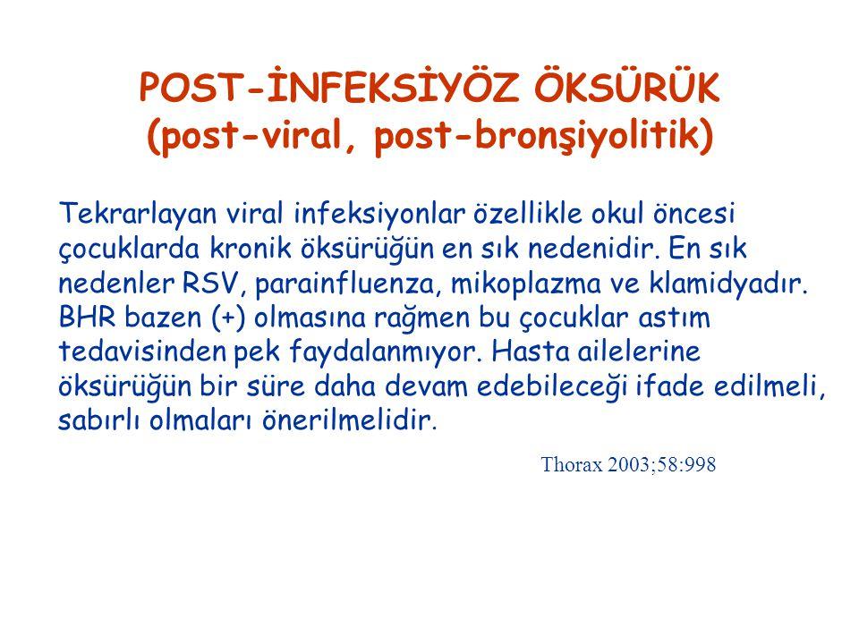 POST-İNFEKSİYÖZ ÖKSÜRÜK (post-viral, post-bronşiyolitik)