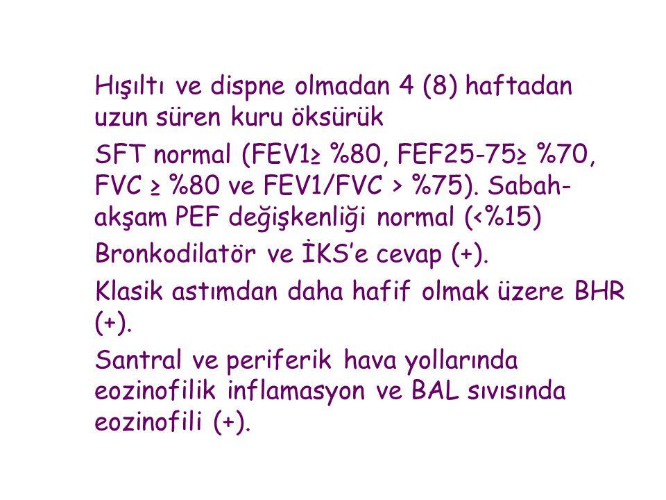 Bronkodilatör ve İKS'e cevap (+).
