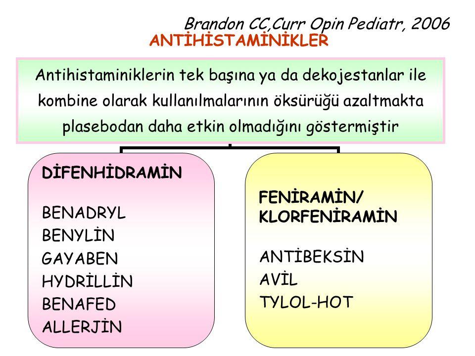 Brandon CC,Curr Opin Pediatr, 2006 ANTİHİSTAMİNİKLER