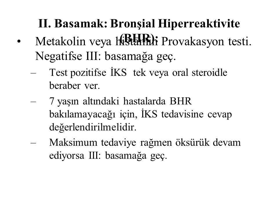 II. Basamak: Bronşial Hiperreaktivite (BHR):