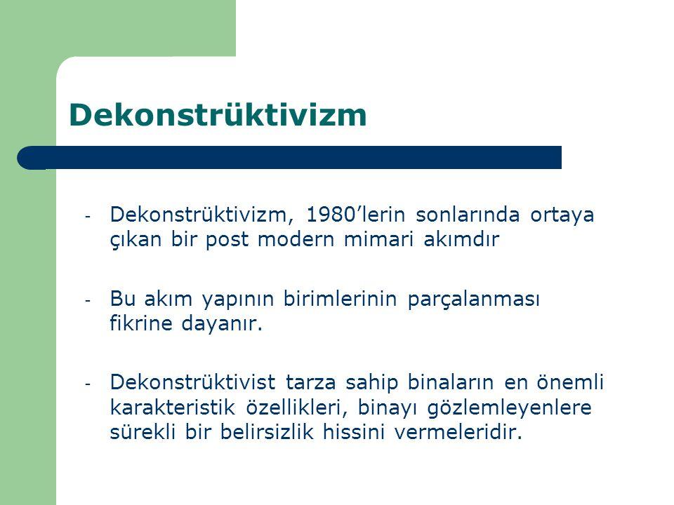 Dekonstrüktivizm Dekonstrüktivizm, 1980'lerin sonlarında ortaya çıkan bir post modern mimari akımdır.