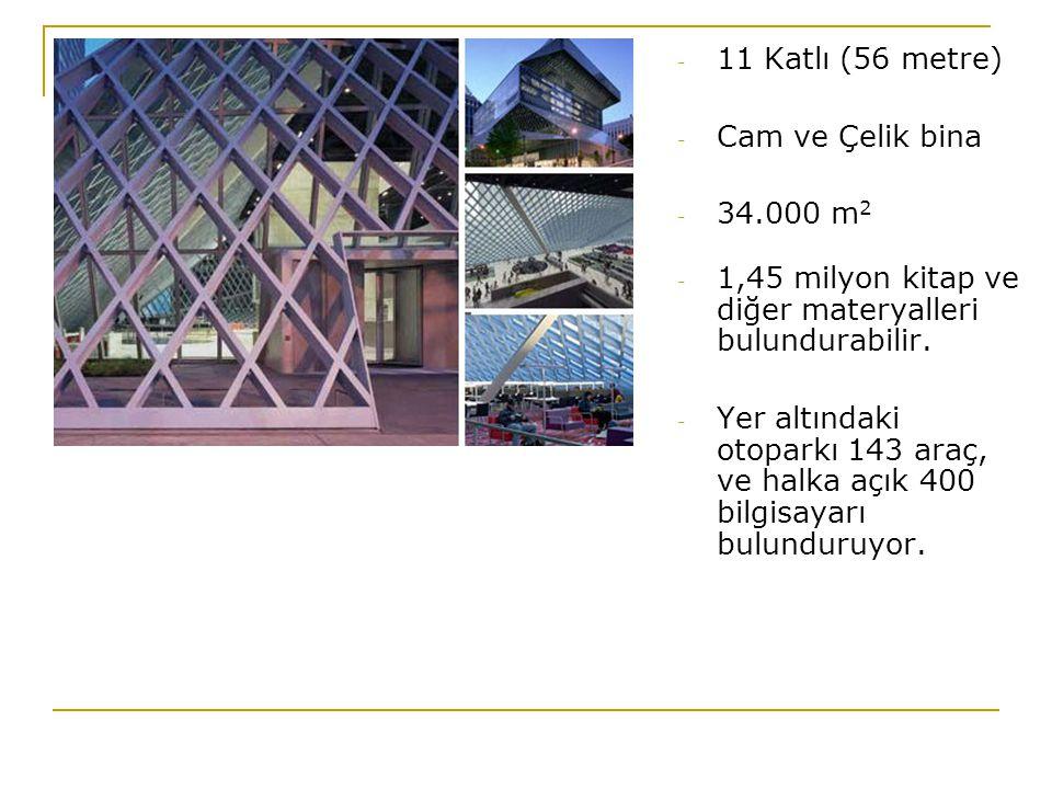 11 Katlı (56 metre) Cam ve Çelik bina. 34.000 m2. 1,45 milyon kitap ve diğer materyalleri bulundurabilir.