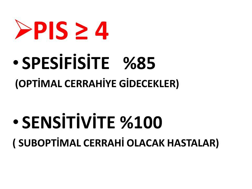 PIS ≥ 4 SPESİFİSİTE %85 SENSİTİVİTE %100