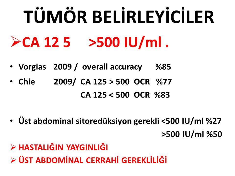 TÜMÖR BELİRLEYİCİLER CA 12 5 >500 IU/ml .