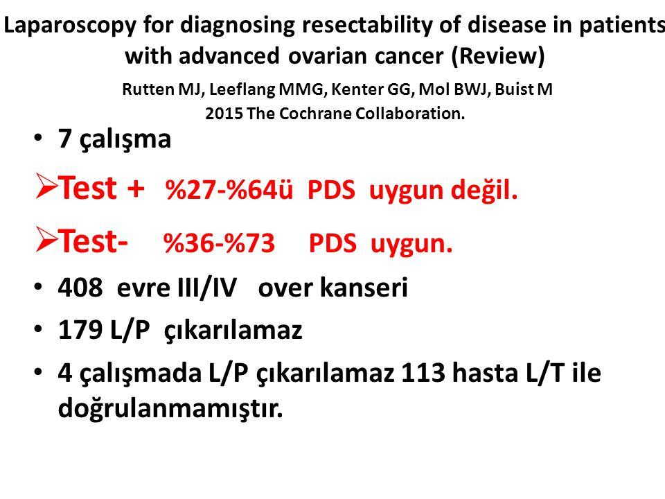 Test + %27-%64ü PDS uygun değil. Test- %36-%73 PDS uygun.