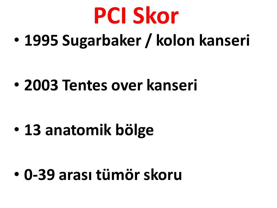 PCI Skor 1995 Sugarbaker / kolon kanseri 2003 Tentes over kanseri