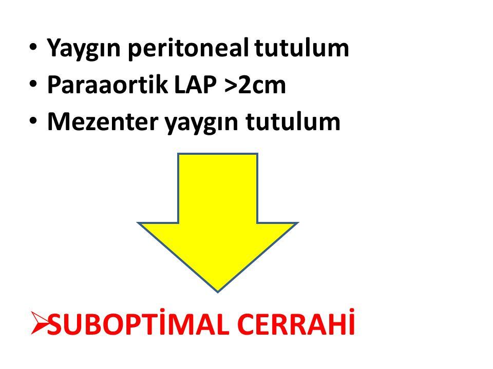 SUBOPTİMAL CERRAHİ Yaygın peritoneal tutulum Paraaortik LAP >2cm