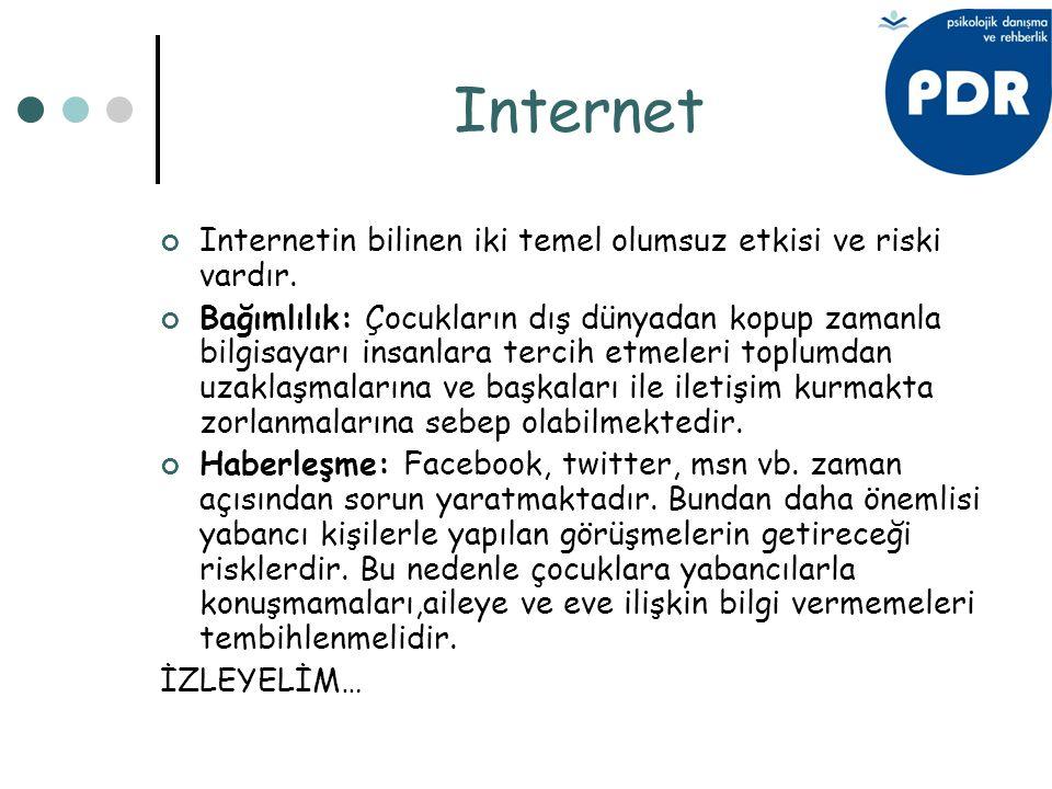 Internet Internetin bilinen iki temel olumsuz etkisi ve riski vardır.