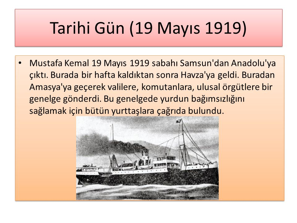 Tarihi Gün (19 Mayıs 1919)