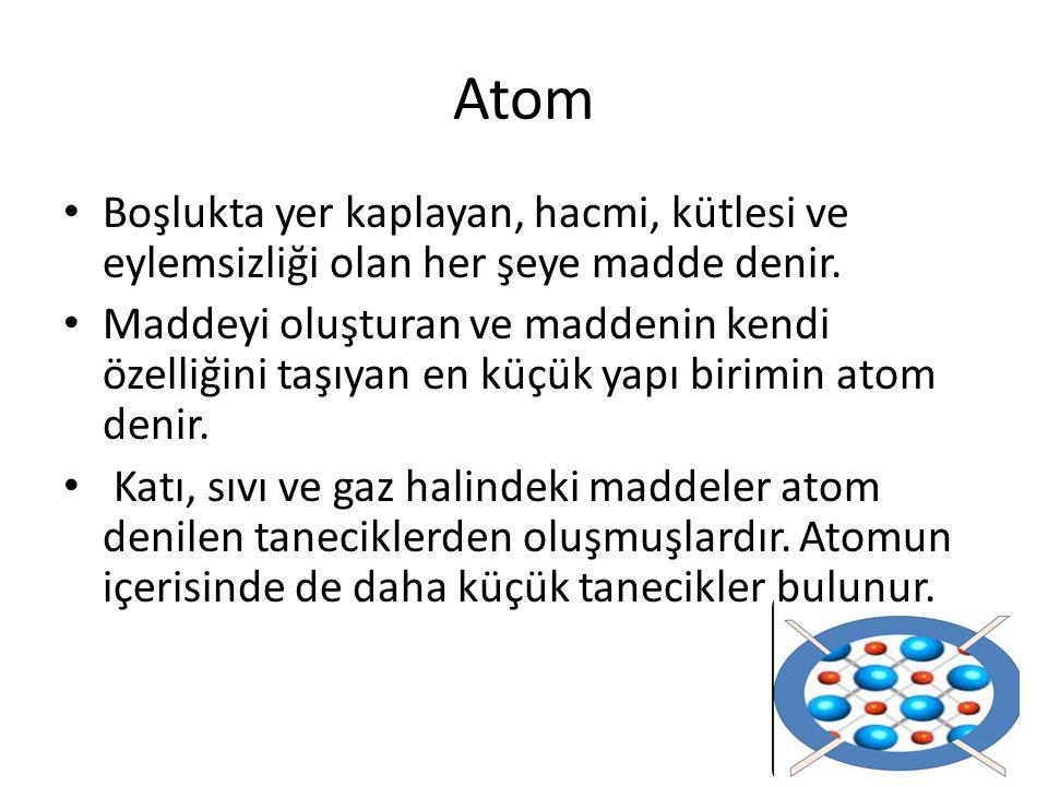 Atom Boşlukta yer kaplayan, hacmi, kütlesi ve eylemsizliği olan her şeye madde denir.