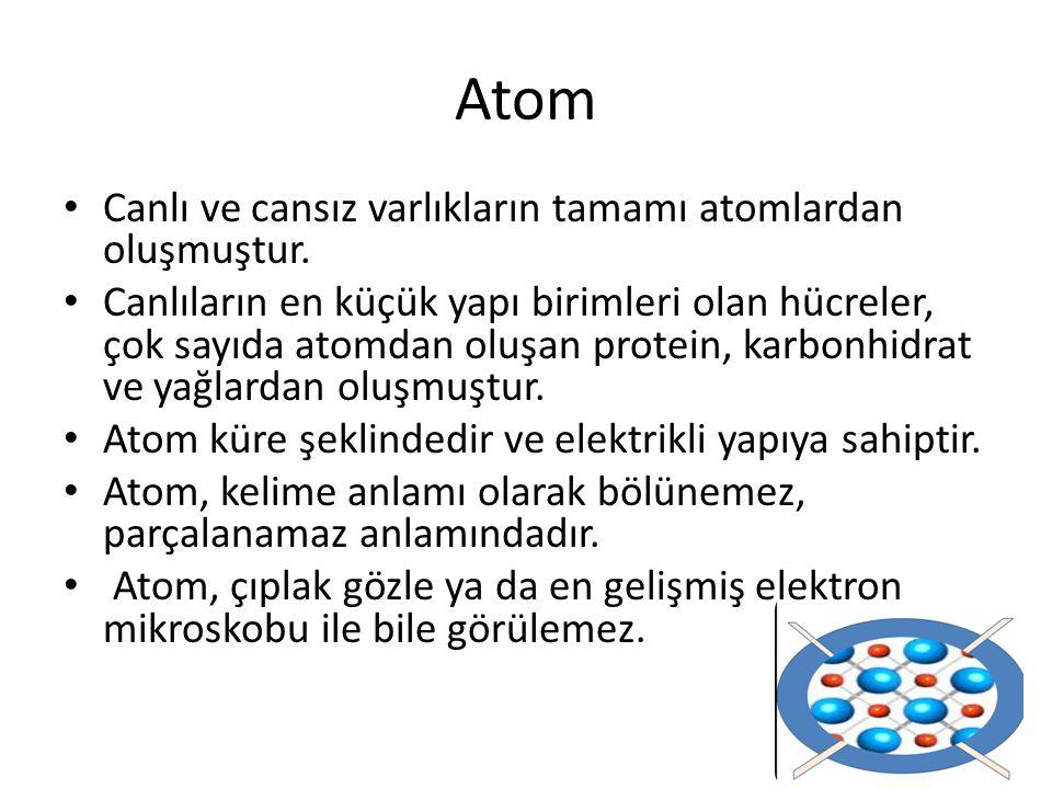 Atom Canlı ve cansız varlıkların tamamı atomlardan oluşmuştur.