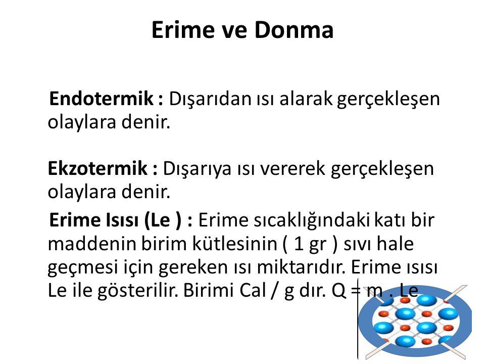 Erime ve Donma Endotermik : Dışarıdan ısı alarak gerçekleşen olaylara denir. Ekzotermik : Dışarıya ısı vererek gerçekleşen olaylara denir.