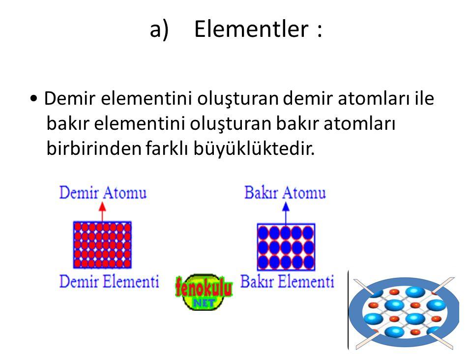 Elementler : • Demir elementini oluşturan demir atomları ile bakır elementini oluşturan bakır atomları birbirinden farklı büyüklüktedir.