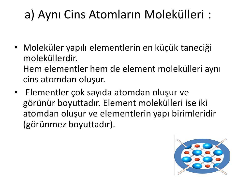 a) Aynı Cins Atomların Molekülleri :
