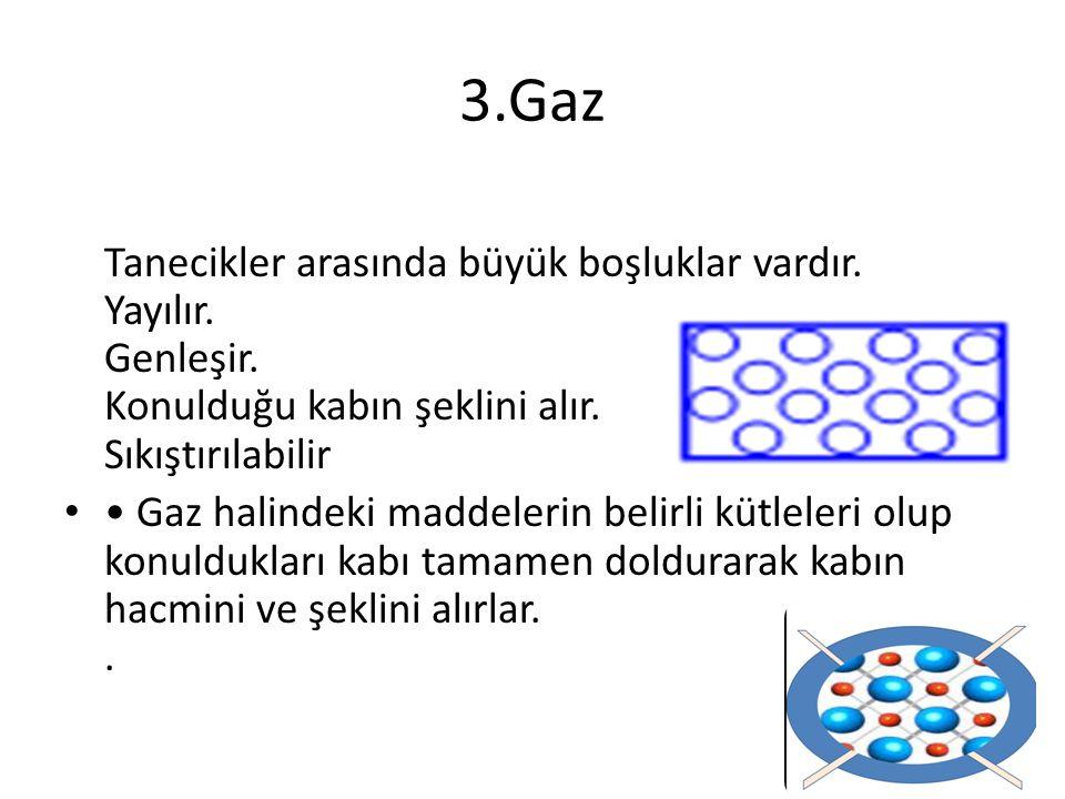 3.Gaz Tanecikler arasında büyük boşluklar vardır. Yayılır. Genleşir. Konulduğu kabın şeklini alır. Sıkıştırılabilir.