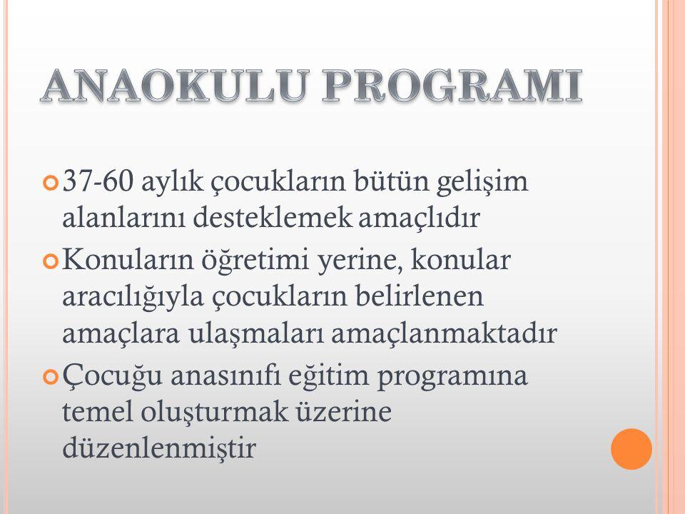ANAOKULU PROGRAMI 37-60 aylık çocukların bütün gelişim alanlarını desteklemek amaçlıdır.