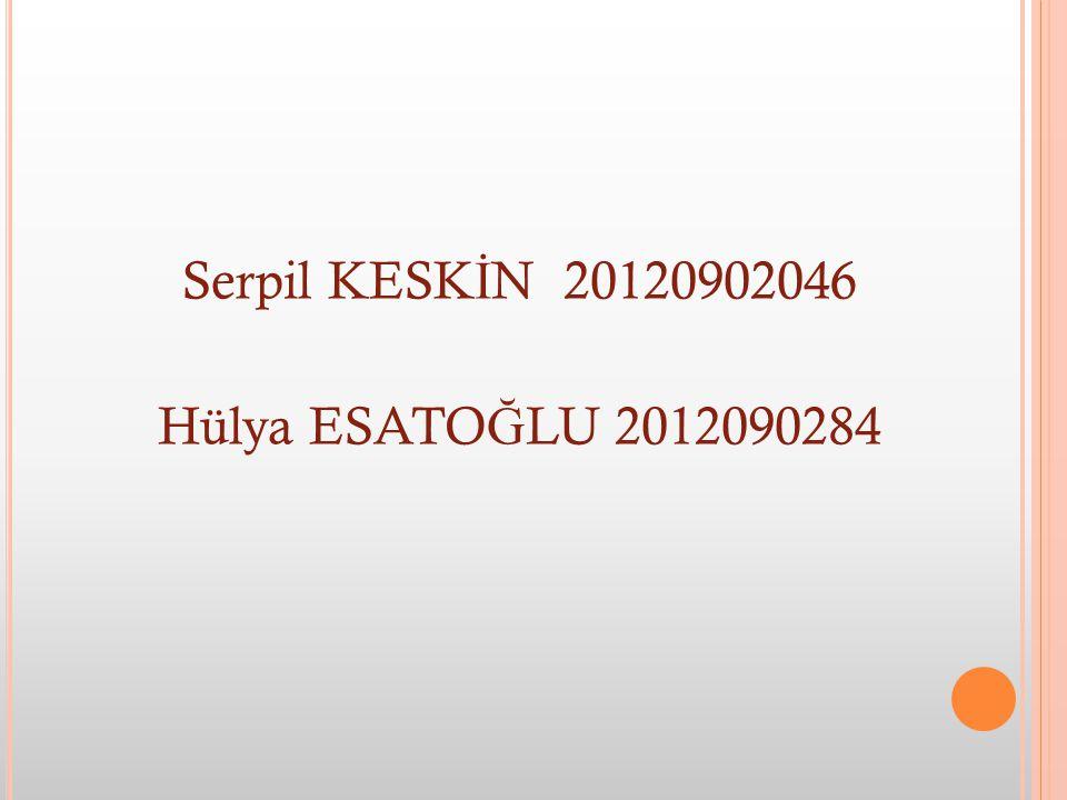Serpil KESKİN 20120902046 Hülya ESATOĞLU 2012090284