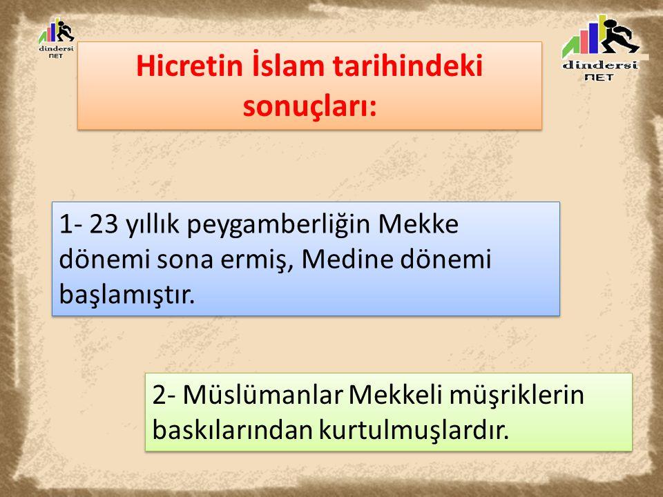 Hicretin İslam tarihindeki sonuçları: