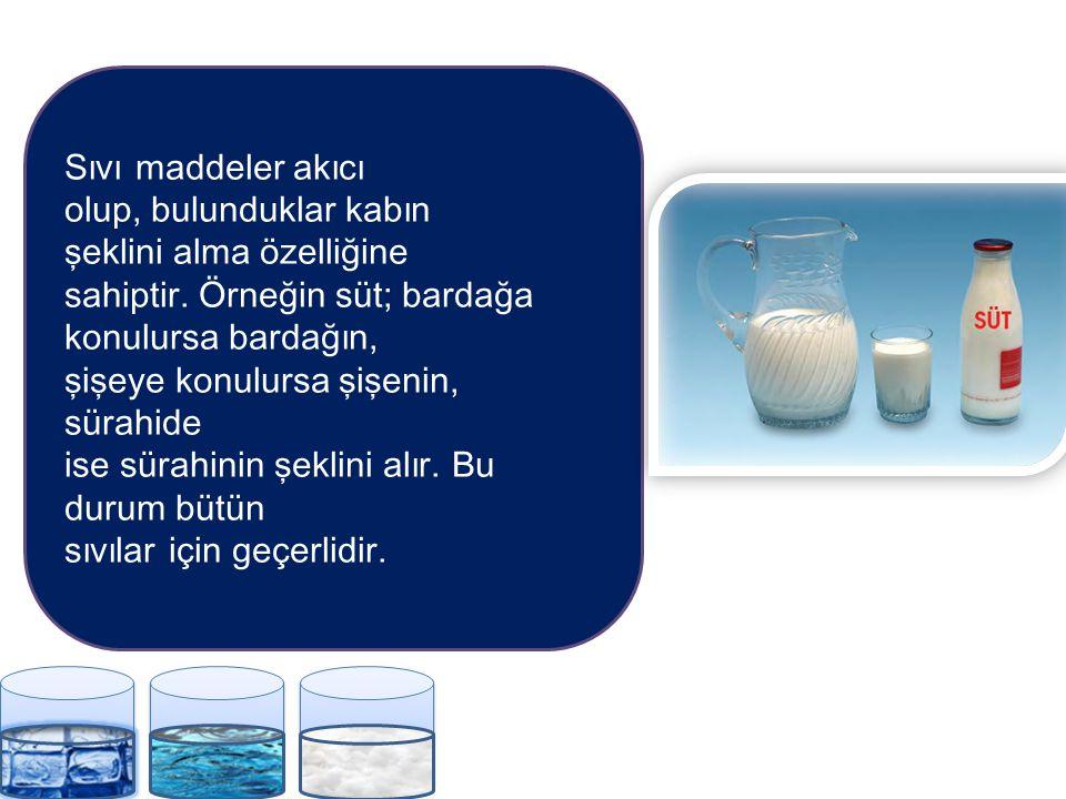 Sıvı maddeler akıcı olup, bulunduklar kabın. şeklini alma özelliğine. sahiptir. Örneğin süt; bardağa konulursa bardağın,