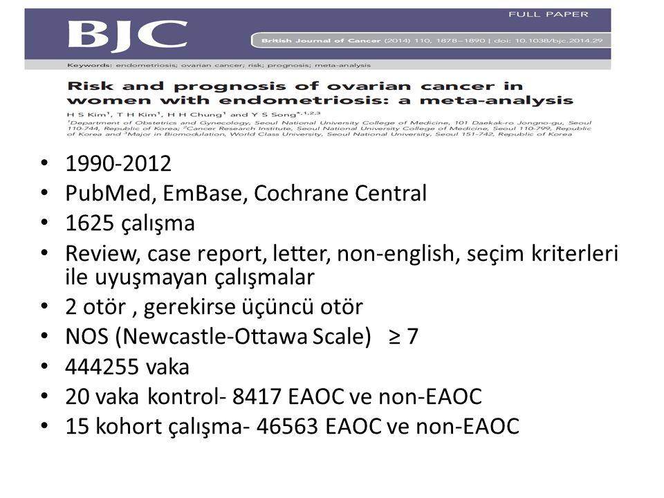 1990-2012 PubMed, EmBase, Cochrane Central. 1625 çalışma. Review, case report, letter, non-english, seçim kriterleri ile uyuşmayan çalışmalar.