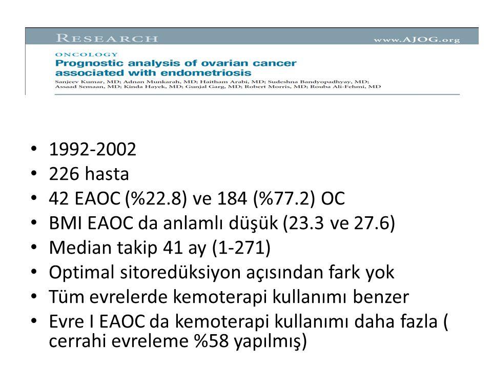 1992-2002 226 hasta. 42 EAOC (%22.8) ve 184 (%77.2) OC. BMI EAOC da anlamlı düşük (23.3 ve 27.6) Median takip 41 ay (1-271)