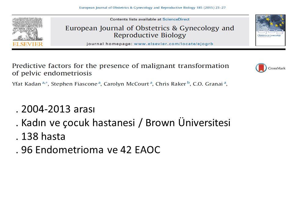 2004-2013 arası . Kadın ve çocuk hastanesi / Brown Üniversitesi.
