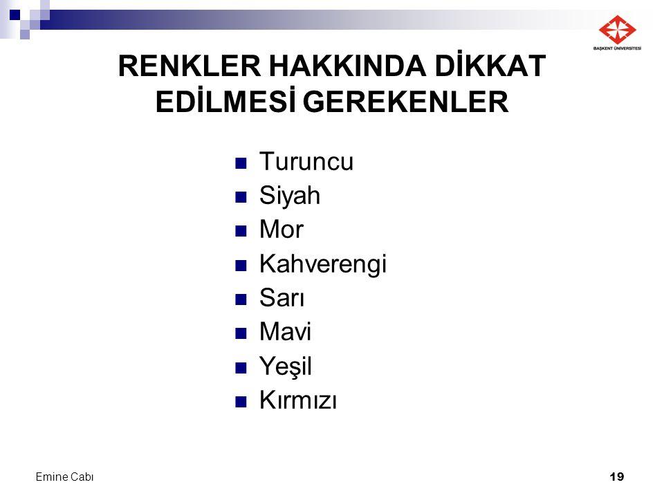 RENKLER HAKKINDA DİKKAT EDİLMESİ GEREKENLER