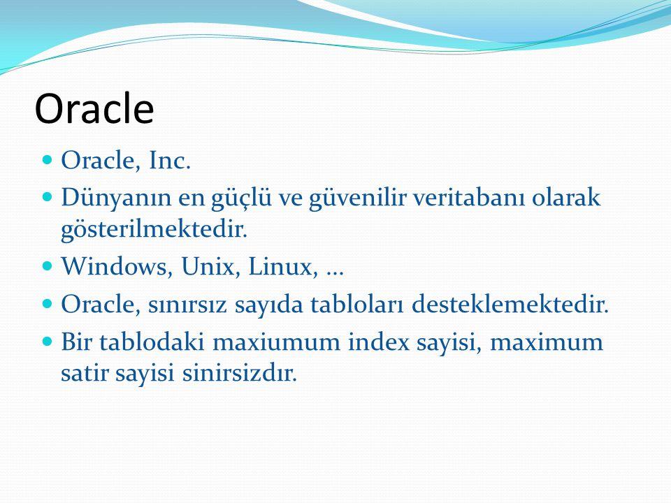 Oracle Oracle, Inc. Dünyanın en güçlü ve güvenilir veritabanı olarak gösterilmektedir. Windows, Unix, Linux, ...