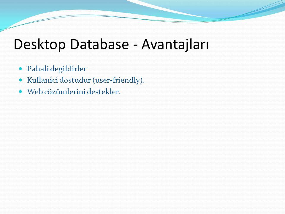 Desktop Database - Avantajları
