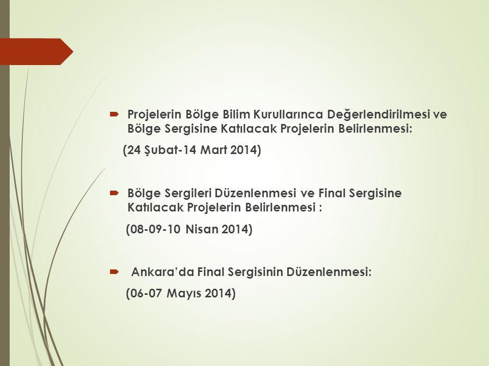 Projelerin Bölge Bilim Kurullarınca Değerlendirilmesi ve Bölge Sergisine Katılacak Projelerin Belirlenmesi: