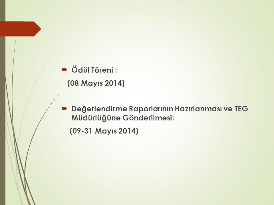Ödül Töreni : (08 Mayıs 2014) Değerlendirme Raporlarının Hazırlanması ve TEG Müdürlüğüne Gönderilmesi:
