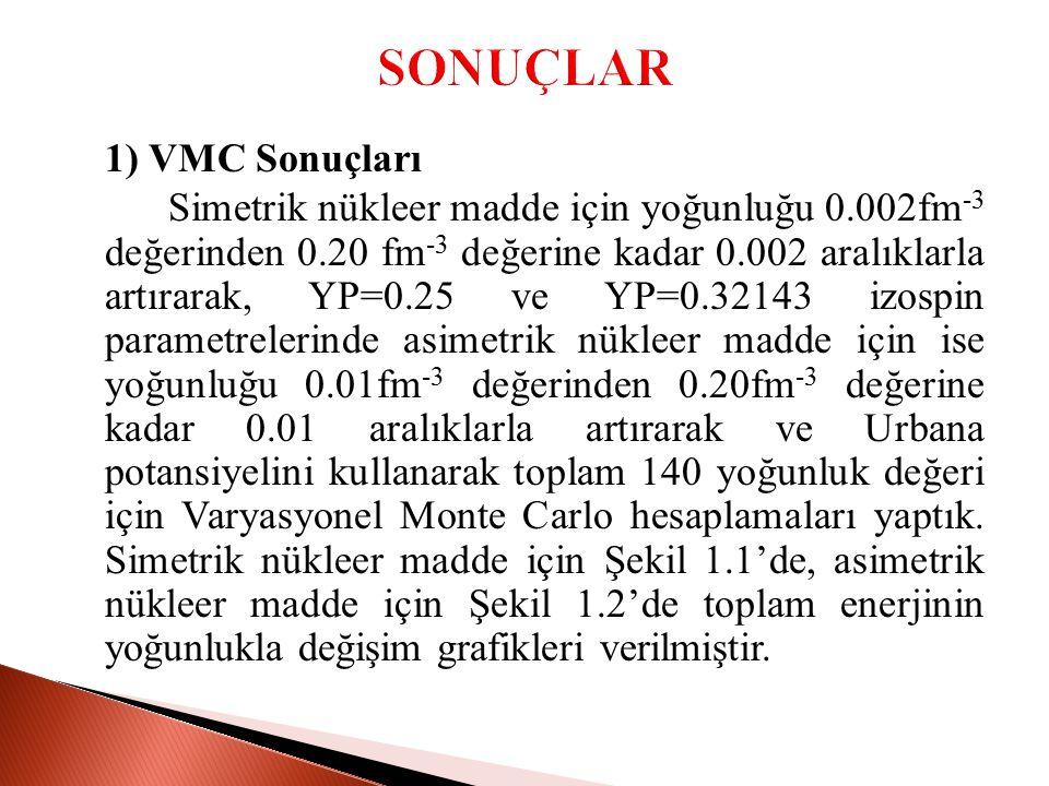 SONUÇLAR 1) VMC Sonuçları.